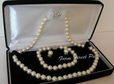 "18"" Inch Set AAAA+ Genuine 7-7.5mm White Pearl Necklace Bracelet Earrings Silver"