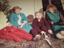 1960's original photograph CHRISTMAS TOYS GONK AND GUN WITH FAMILY 13X10.10inch
