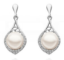 Beautiful Vintage Stylish Silver & White Pearl Drop Dangle Earrings Bridal E649