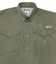 Columbia Vented Fishing Shirt Large Khaki Super Bonehead Omni-Shade PFG New