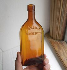 W.H.BULL'S MEDICINE BOTTLE HONEY AMBER 100 YR OLD ST.LOUIS MED