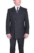 Silvio Bresciani 40R Gray Striped Double Breasted Super 120's Wool Suit