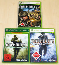 3 Xbox 360 juegos colección Call of Duty 3 4 World at War Modern Warfare Shooter