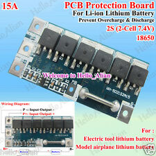 15A 2S Li-ion Lithium Battery Cell 18650 Charger Protection BMS PCB Board 7.4V