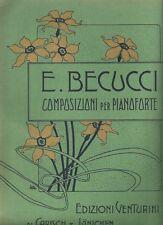 Spartito Musicale Vieni al Mar! Notturno Pianoforte Ernesto Becucci Illustrato