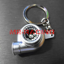 Matte Silve Spinning Turbo Turbocharger Auto Racing Tuning Part Keychain Keyring