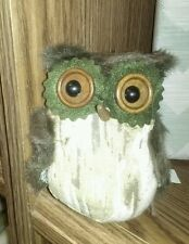 "New 4"" Green Felt, Fur, & Fabric Owl Stuffed Hanging Decoration Ornament Wreath"
