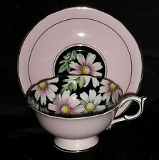"Vtg Circa 1939 Paragon Teacup ""Daisies on Black"" inside w/ Pink Cup and Saucer"