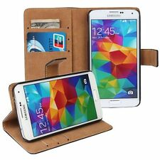 Samsung Galaxy S5 I9600 G900 custodia  in pelle a portafoglio nero flip case