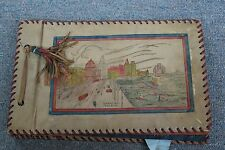 "Vintage Asian Chinese Leather Scrap Book Photo Album Shanghai ""The Bund"" 1949"