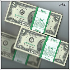 Mint Uncirculated Two Dollar Bill, Crisp $2 Note, US Currency Sequential Order