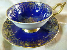 COALPORT   TEA  CUP AND SAUCER  ROYAL BLUE~ EMBASSY~  GOLD TWIGS VINTAGE DUO