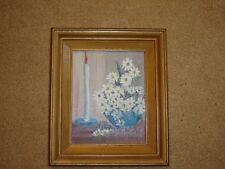 Painting white candle daisies with blue framed signed M Johnson 8 x 10