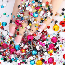 1000PCS 3D Charm Acrylic Nail Art Tips Gems Crystal Rhinestones Women Decor FT