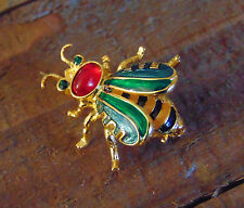 Joan Rivers RUSSIAN Enamel Yellow Black Honey BEE PIN Bug Brooch Gold Red Jewel