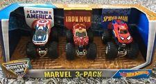 Monster Jam Hot Wheels Captain America Iron Man Spider-Man Truck 1:64 Pack NEW
