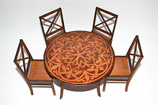 Furniture for Dolls 1:6 1/6 Set 1 lacquer Table & 4 Chairs Barbie FR NEW! round