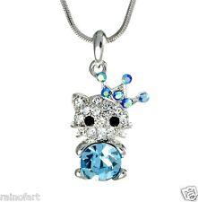 KITTY CAT W Swarovski Crystal Blue Charm Gift New Pendant Necklace Jewelry