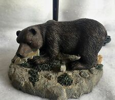 Bear Fishing Table Lamp Light with Fish Rustic Hunting Camp Cottage Decor EUC