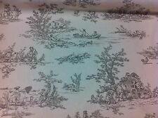 "FRYETT`S Provence,French ""Toile de Jouy""Pewter Cotton Fabric, Curtain/Upholstery"
