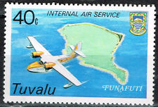 Tuvalu Aviation Aircraft over Funafuti atoll map stamp 1986 MNH