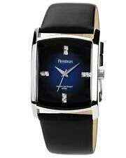 Armitron Mens Swarovski Crystal Blue Dial Black Leather Band Watch 204604DBSVBK
