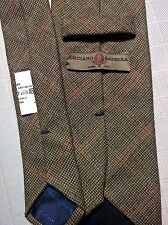 LUCIANO BARBERA Italy Wool Cashmere Flannel Neck Tie Overchecks Browns Textures