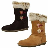 Girls Clarks Snuggle Folk Inf Brown Or Tan Suede Mid Calf Boots F & G Fittings