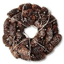 Smith & Hawken Glitter White Snow Frosted Dried Pinecones and Twigs Wreath