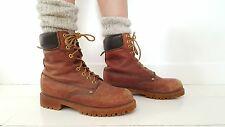 Vintage 80s Work Boots Size 8 Brown Leather Distressed Size 10 Hipster Worn