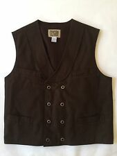Frontier Classics Old West Cowboy Western Brown Double Breasted Button Vest L