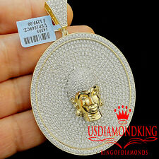 Real Yellow Gold Silver Mens Buddha Head Pendant Big Jumbo Custom Medallion 3''