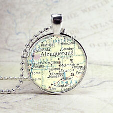 ALBUQUERQUE NEW MEXICO Pendat Necklace, Vintage New Mexico Map Jewelry Charm
