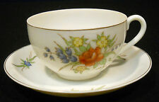 Yamaka Occupied Japan cup saucer pale red yellow blue flowers