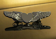 SILVER HEART Wings Pin badge Flight Attendant Air Hostess Pilot Cabin Crew 50mm