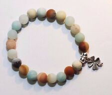 Lucky Charm, Natual Frosted Amazonite Gemstone Beads Bracelet, Four Leaf Clover