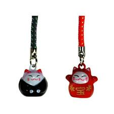SET OF 2 LUCKY CAT BELL CHARM Red Black Maneki Neko Mobile Cell Phone Strap NEW