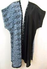 DU09B TIENDA HO~BLACK & BLUE~Floral~Fannan Duster~Open Front~EMBROIDERED~OS