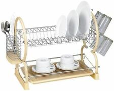 2 Tier Chrome Dish Drainer with Plates Rack/Glass Holder/drip Tray