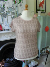 NWT SZ M-L Silence & Noise @ Urban Outfitters T Shirt Top Pink Lace Embellished
