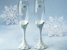 Winter Snowflake Wedding Set 2 Toasting Flutes Champagne Glasses ENGRAVING Gift