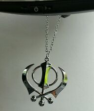 Large Stainless Steel Punjabi Sikh Large Khanda Pendant Car Rear Mirror Hanging