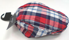 NEW MENS HAT FLAT CAP M&S BLUE HARBOUR BLUE RED CHECK COTTON MEDIUM 7-7 1/ 2""
