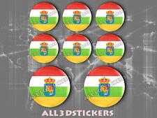 8 x Pegatinas Redondas 3D Relieve Bandera Provincia La Rioja- Todas las Banderas
