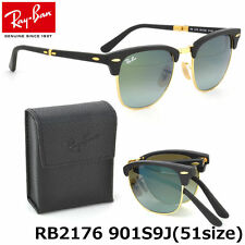 New Ray-Ban Clubmaster Folding RB2176 901S/9J Black/Green Mirror Unisex 51mm