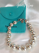 Tiffany & Co  .925 Sterling Silver 10 mm 7 inch Ball Bead Bracelet W/ Pouch