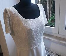 leichtes Brautkleid schlicht fließend Ärmel Spitze von Lilly Gr. 44 ivory creme