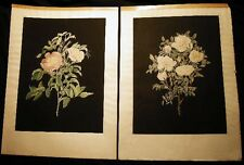 1797 MARY LAWRANCE PAIR OF ROSE HAND COLORED STIPPLE ENGRAVINGS