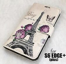 Samsung Galaxy S6 Edge Plus - Paris Eiffel Tower Leather Wallet Pouch Case Cover