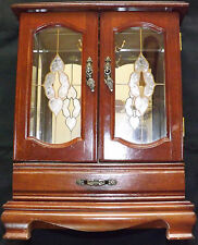 Large Jewellery Box Mahogany Mirror Wardrobe Drawer Ornate Handles Glass Doors